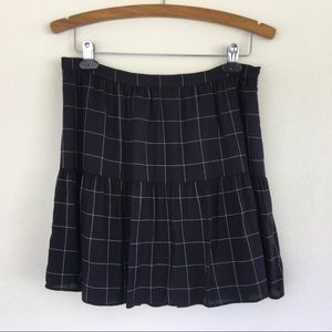 Madewell Black Windowpane Plaid Mini Ruffle Skirt